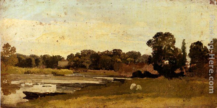 John Linnell Study Of A River Landscape