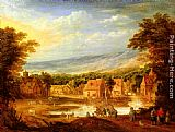 Joos De Momper - An extensive river landscape with travellers approaching a village