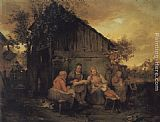Josef Danhauser - A Family Resting At Sunset