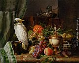 Josef Schuster - A Cockatoo Grapes Figs Plums a Pineapple and a Peach