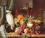 Josef Schuster - Still Life With Fruit and a Cockatoo