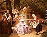 Famous Garden Paintings - Marie Antoinette and Louis XVI in the Garden of the Tuileries with Madame Lambale