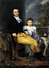 Joseph-Denis Odevaere - Portrait of a Prominent Gentleman with his Daughter and Hunting Dog