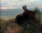 Jozef Israels - A Fishergirl On A Dunetop Overlooking The Sea