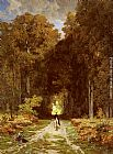 Jules Joseph Augustin Laurens - Equestrienne on a Woodland Lane