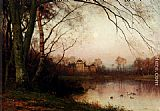 Julius Jacobus Van De Sande Bakhuyzen - A Woodland With Ducks In A Pond
