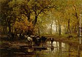 Julius Jacobus Van De Sande Bakhuyzen - Watering Cows in a Pond