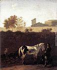 Horse Wall Art - Italian Landscape with Herdsman and a Piebald Horse