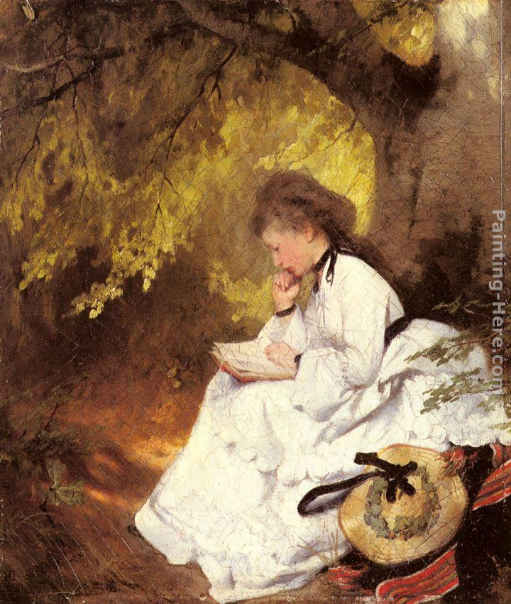 Karl Raupp An Elegant Lady Reading Under a Tree