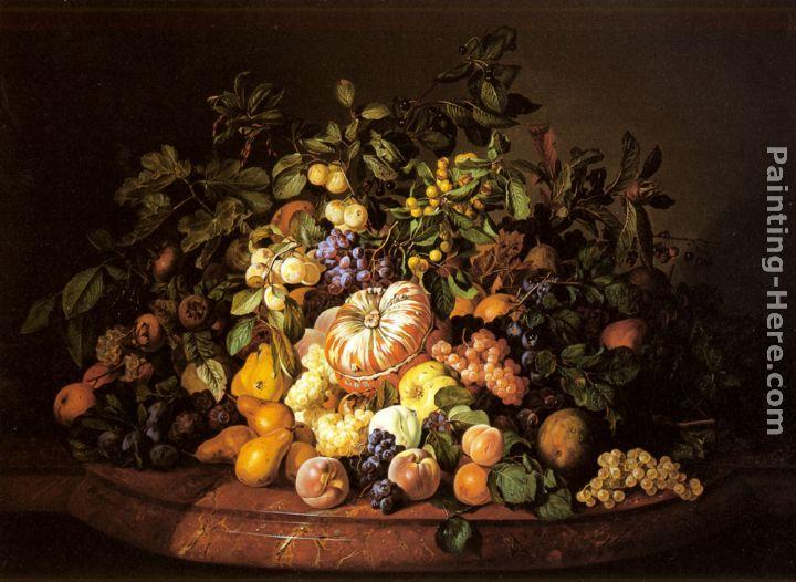 Leopold Zinnogger A Still Life of Fruit on a Marble Ledge