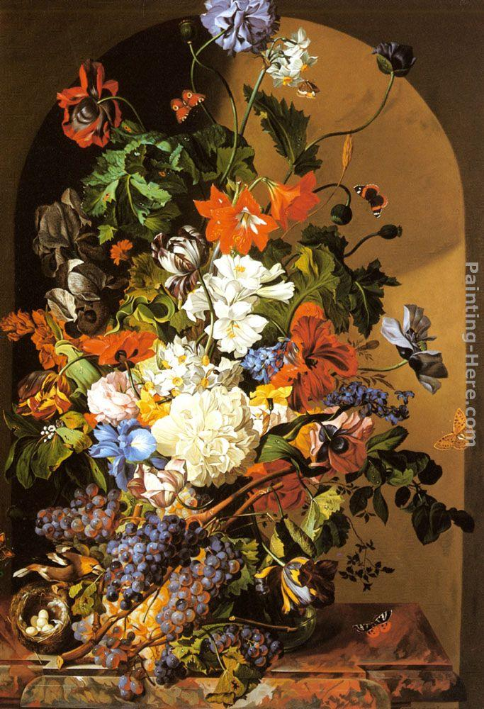 Leopold Zinnogger A Still Life with Flowers and Grapes