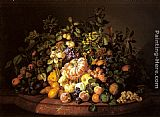 Leopold Zinnogger - A Still Life of Fruit on a Marble Ledge