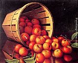 Levi Wells Prentice Apples tumbling from a basket painting
