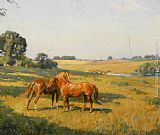 Lionel Edwards - Mare and Foal in a Meadow