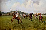 Lionel Edwards - Playing Polo At Cowdray Park, West Sussex