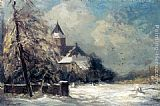 Louis Apol - A Church In A Snow Covered Landscape