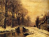 Louis Apol - A Snowcovered Forest With A Bridge Across A Stream