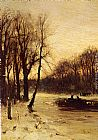 Louis Apol - Figures In A Winter Landscape At Dusk
