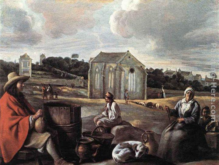Louis Le Nain Landscape with Peasants and a Chapel