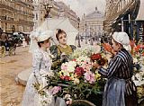 Louis Marie de Schryver - The Flower Seller, Avenue de L'Opera, Paris