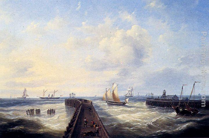 Louis Verboeckhoven Fishing Boats Off A Jetty At Ostend