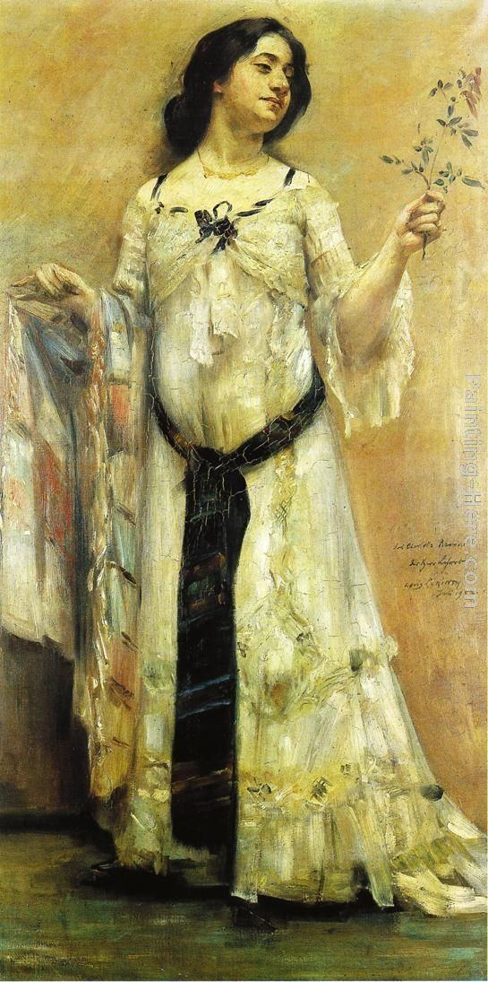 Lovis Corinth Portrait of Charlotte Berend in a White Dress