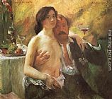 Self portrait with his Wife and a Glass of Champagne