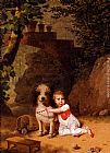 Famous Dog Paintings - Portrait Of A Little Boy Placing A Coral Necklace On A Dog, Both Seated In A Parkland Setting