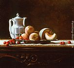 Maureen Hyde - Still Life with Cherries, Peaches, and Melon