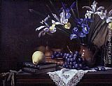Maureen Hyde - Still Life with Irises and Grapes