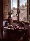 Famous Interior Paintings - Still Life with a View ( Interior with Landscape through a Window)
