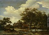 Meindert Hobbema - A wooded landscape with a figure crossing a bridge over a stream