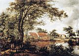 Meindert Hobbema - Wooded Landscape with Water Mill