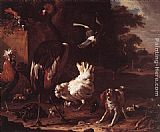 Melchior de Hondecoeter - Birds and a Spaniel in a Garden