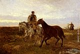 Mihaly Munkacsy Leading the Horses Home at Sunset painting