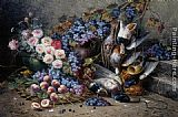 Modeste Carlier - Roses Peaches Grapes and Game