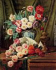 Modeste Carlier - Still Life Of Roses And Other Flowers On A Draped Table