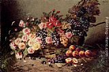 Modeste Carlier - Still Life Of Roses, Peaches And Grapes In A Basket