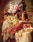Modeste Carlier - Still Life With A Lobster And Assorted Fruit And Flowers