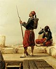 Niels Simonsen - A Nubian and an Egyptian Guard in a Lookout Tower