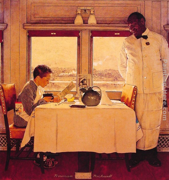 Norman Rockwell Boy In A Dining Car