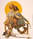 Norman Rockwell Canvas Paintings - Boy and Girl gazing at the Moon