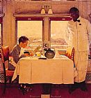 Norman Rockwell Famous Paintings - Boy in a Dining Car