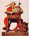 Norman Rockwell Famous Paintings - Christmas - Santa Reading Mail