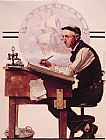 Norman Rockwell Daydreaming Bookeeper (Adventure) painting