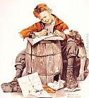 Famous Boy Paintings - Little boy writing a letter