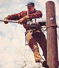 Norman Rockwell Famous Paintings - The Lineman