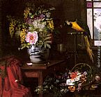 Olaf August Hermansen - A Still Life With A Vase, Basket And Parrot