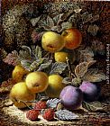 Oliver Clare - Still Life with Apples, Plums and Raspberries on a Mossy Bank