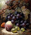 Oliver Clare - Still Life with Black Grapes, a Strawberry, a Peach and Gooseberries on a Mossy Bank